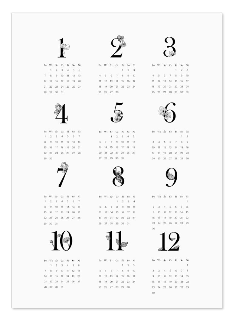 Kalendarz 2019 Do Druku P R I N T A B L E 2019 Calendar