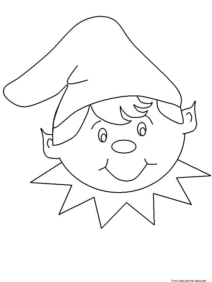 Free print out christmas elf face cut out coloring pages