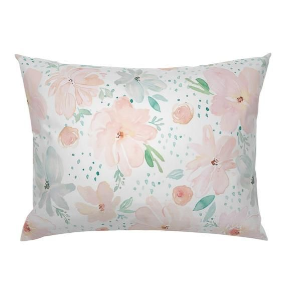 Soft Pastel Floral Pillow Sham - April Showers by indybloomdesign - Large Scale Flowers   Cotton Sat