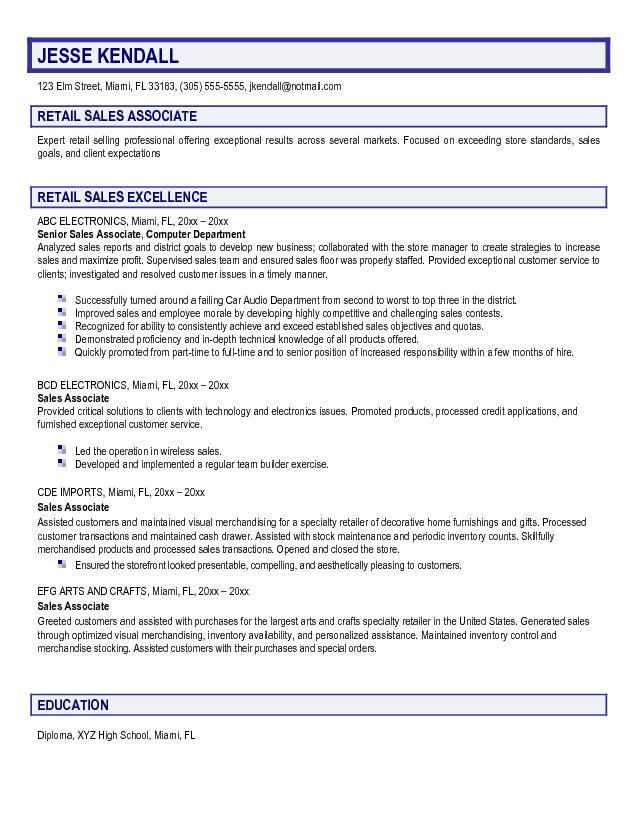 Sample Resume For Sales Associate At Retail #985 -   - retail sales associate resume