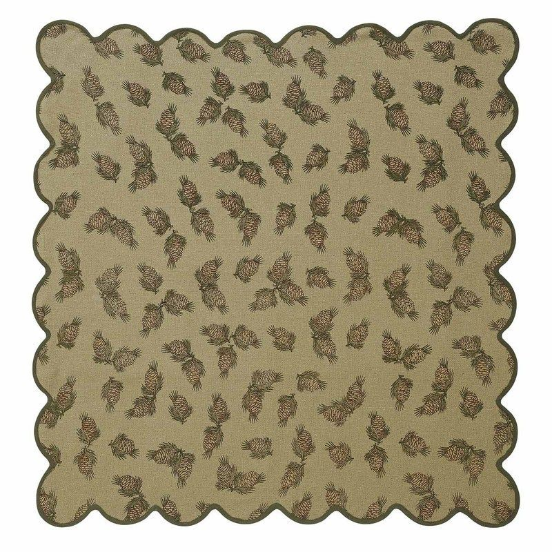 Pine Cone Table Topper Printed Burlap Scalloped 40x40