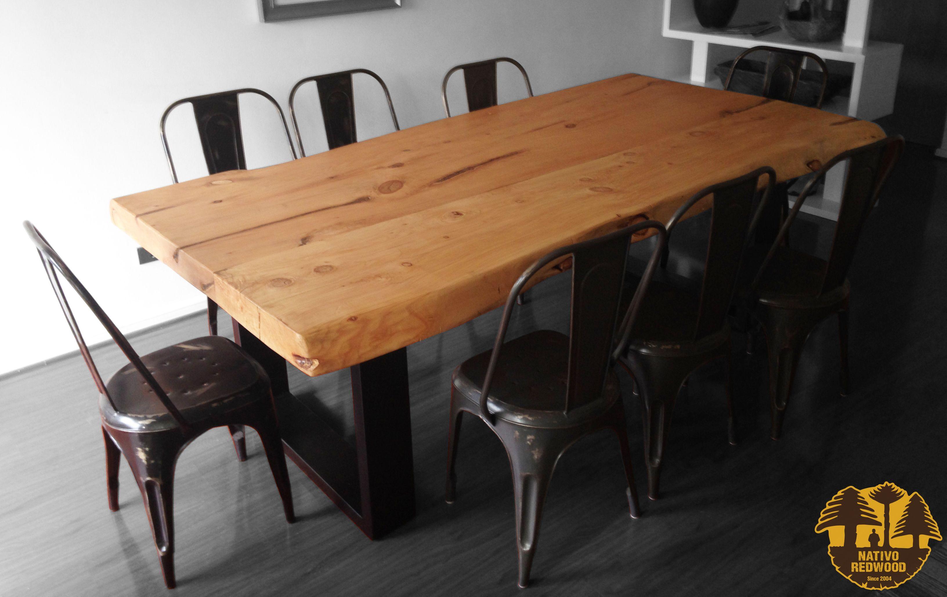 Nativo red wood mesa comedor con cubierta de madera de - Cubiertas de madera ...