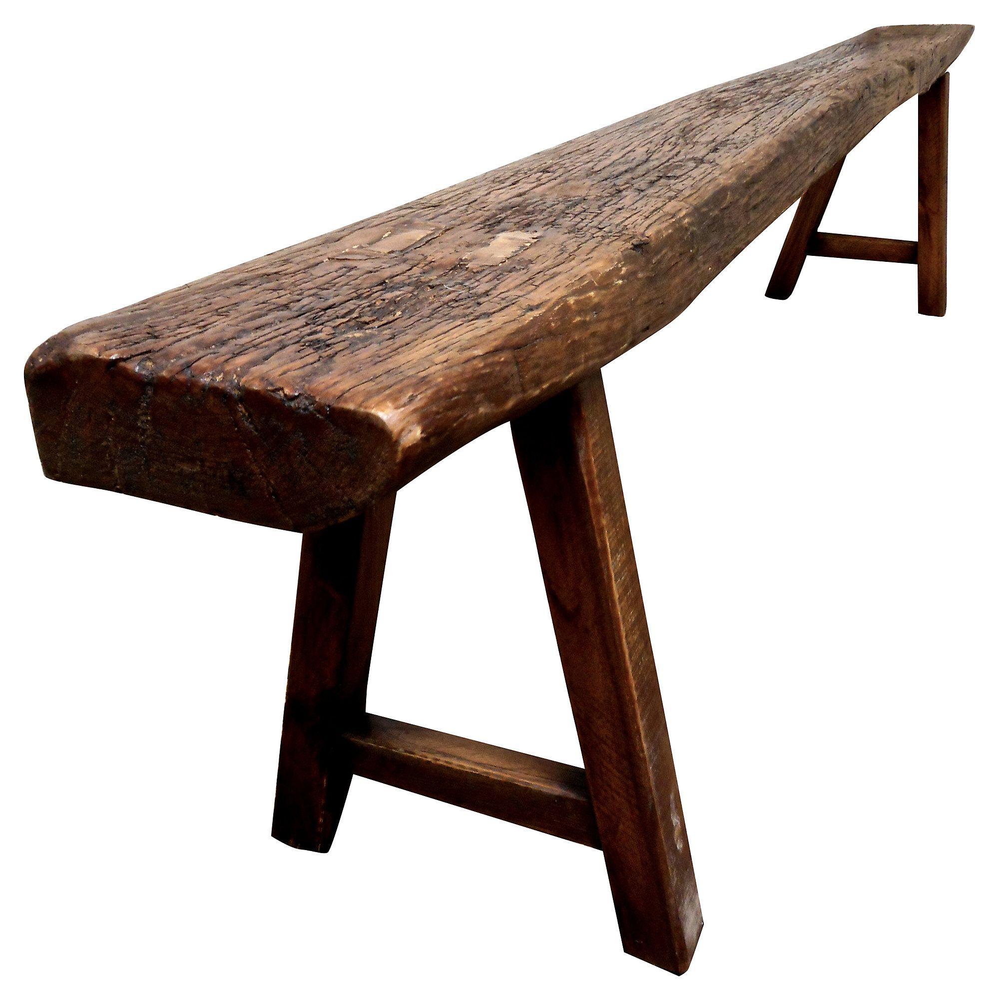 """Extra long 82"""" Shandong bench showing wonderful natural wood"""
