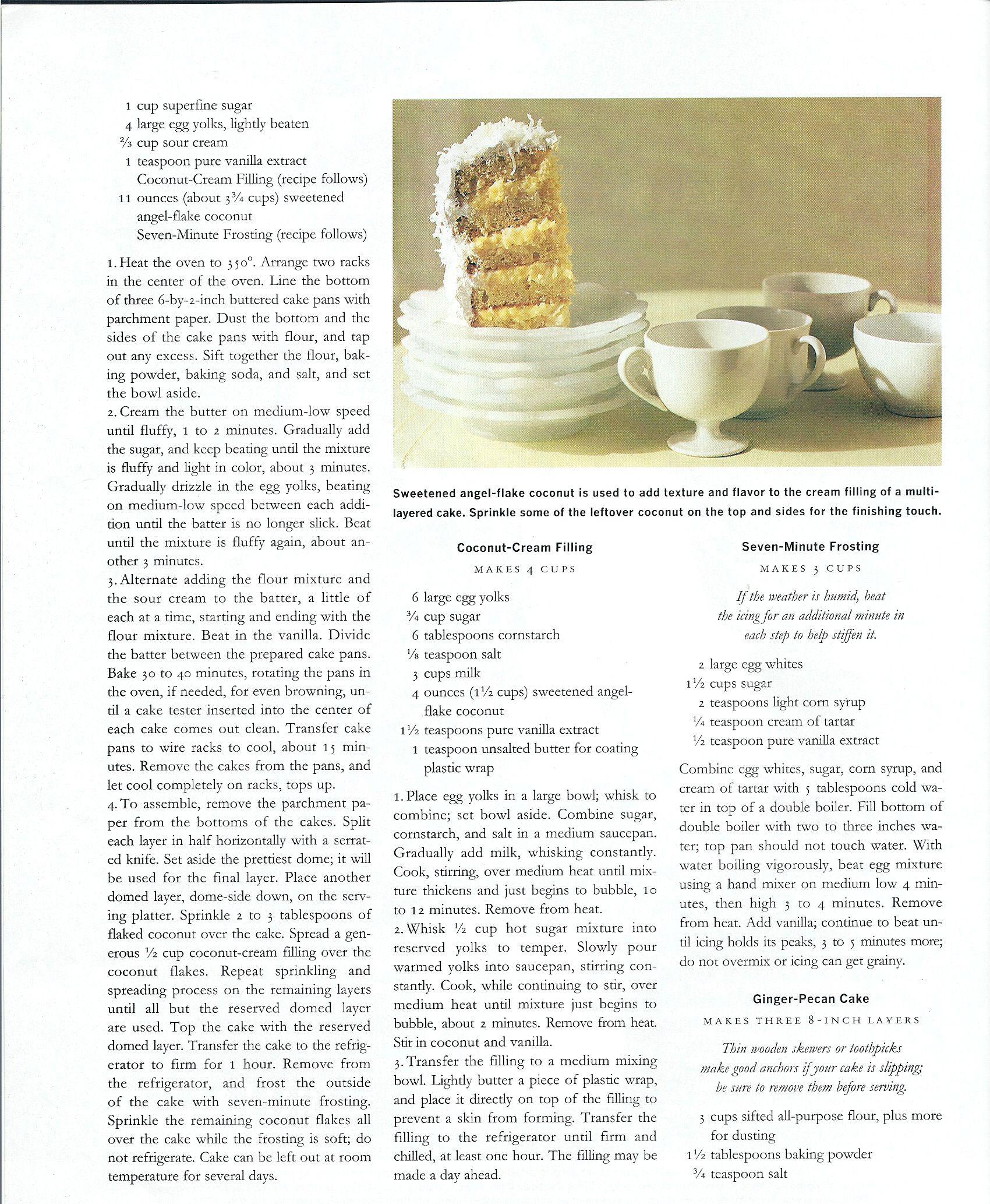 Coconut cake coconut cream filling and seven minute