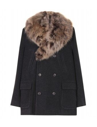 mytheresa.com - Ralph Lauren - WOOL COAT WITH FUR COLLAR - Luxury Fashion for Women / Designer clothing, shoes, bags - StyleSays