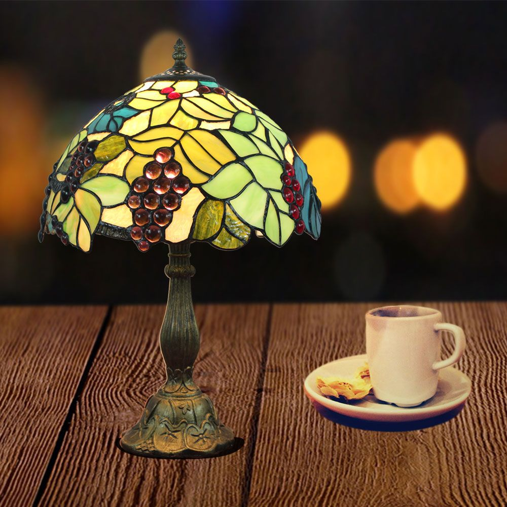 Tiffany Tischleuchte D30cm Weintraube Blume Design 1 Flammig Zu