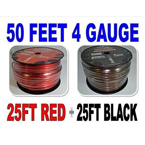 Installgear 1 0 Gauge Ga Awg Red 25ft Power Ground Cable True Spec And Soft Touch Wire Car Audio Audiopipe Power