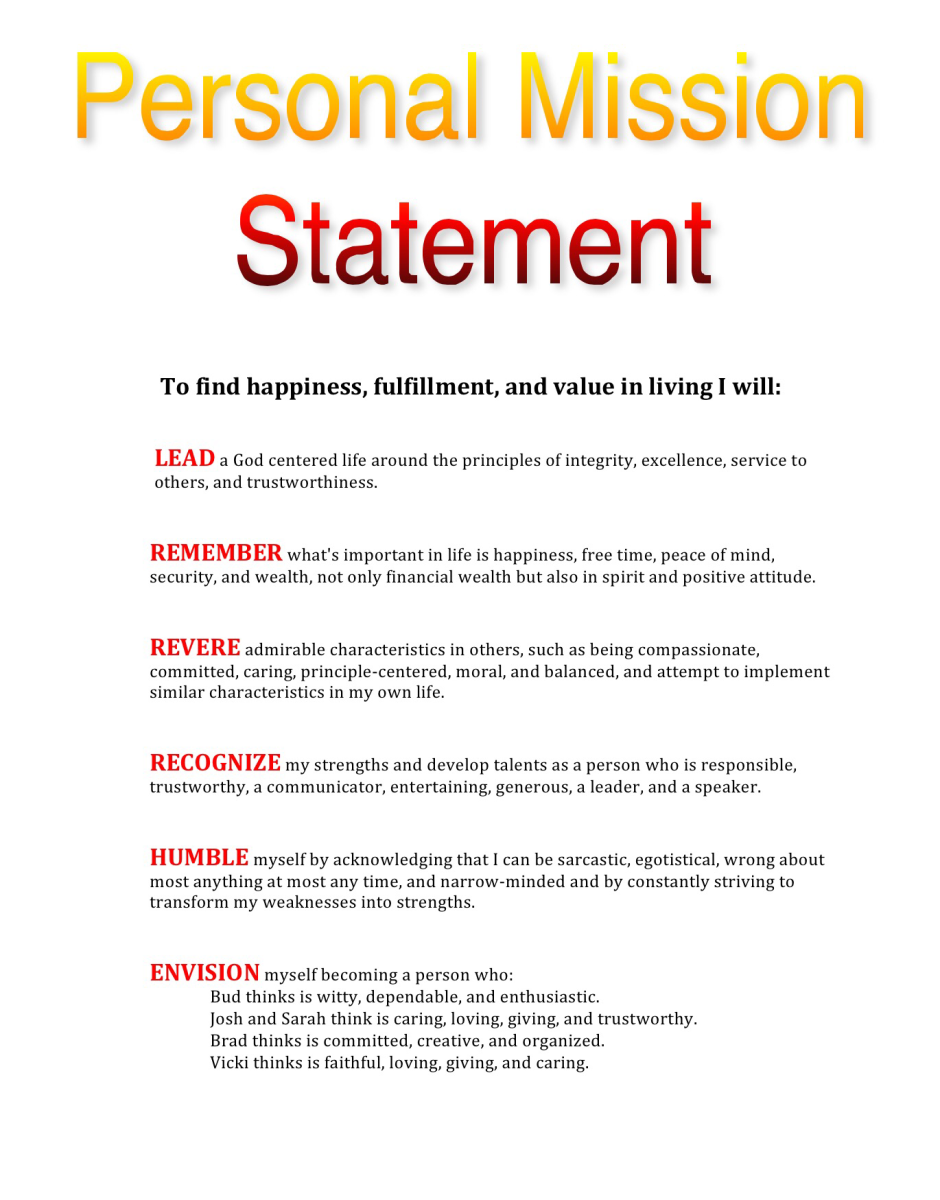 My Personal Mission Statement By Steve Keating Example Vision Examples Counselor
