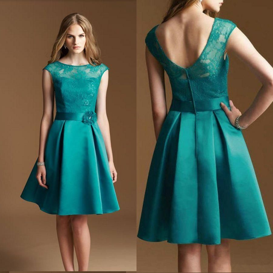 A line Crew Cap Sleeves Turquoise Bridesmaid Dresses Lace ...