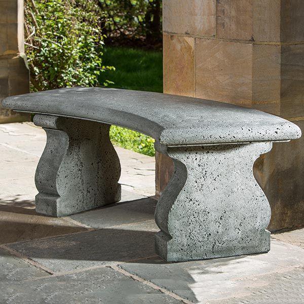 Provencal Curved Cast Stone Outdoor Garden Bench Stone Garden