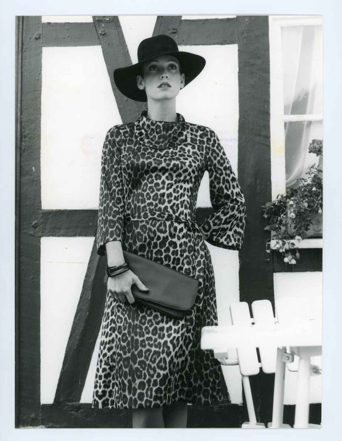 0fd3055d Vintage fashion photo - 1970s - womens fashion model - leopard print dress  - black and white photo by GRAINSofBrussels on Etsy