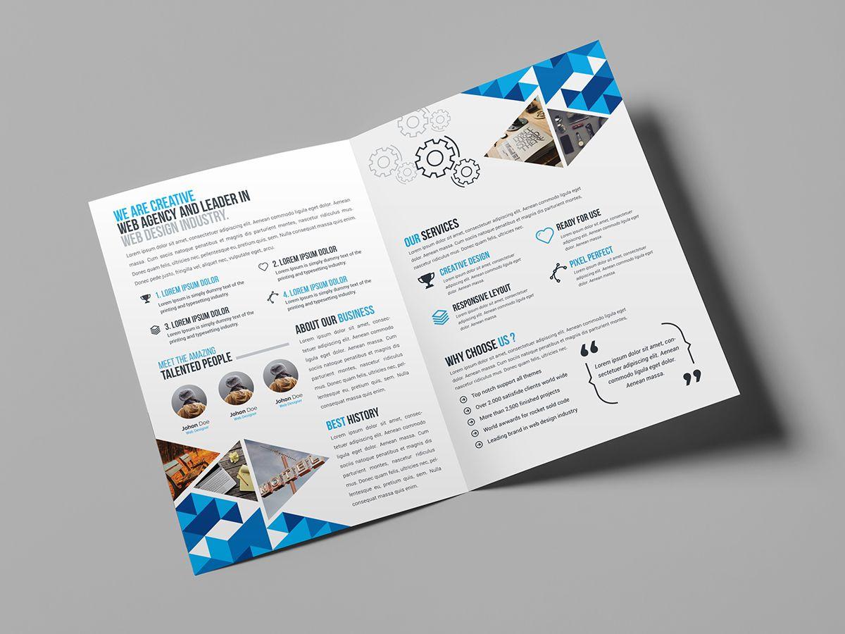 Blue Diamond Bi Fold Brochure Template Brochure Template Bi