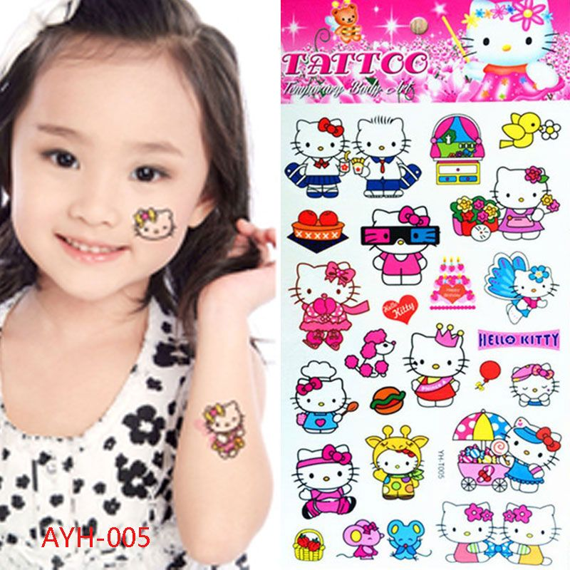 Roze Hello Kitty Katten Kind Tijdelijke Tattoo Body Art Flash Tattoo Stickers 21*10 cm Waterdichte Henna Ta Auto Styling Muursticker