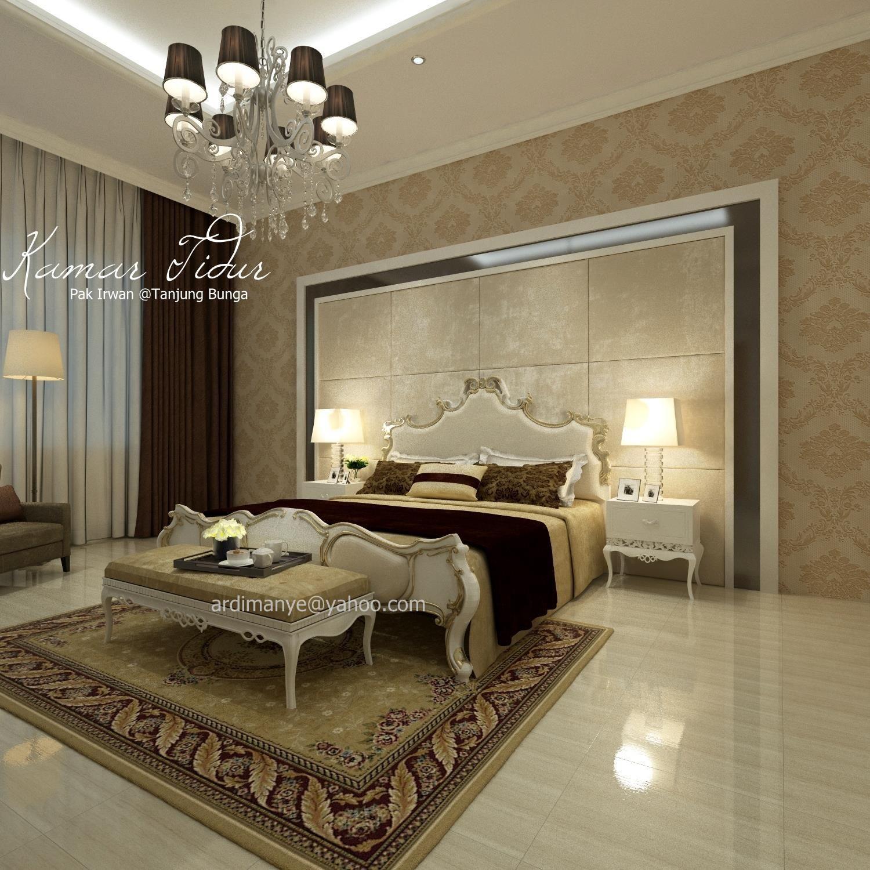desain interior arsitek kamar utama konsep modern klasik  Ruang