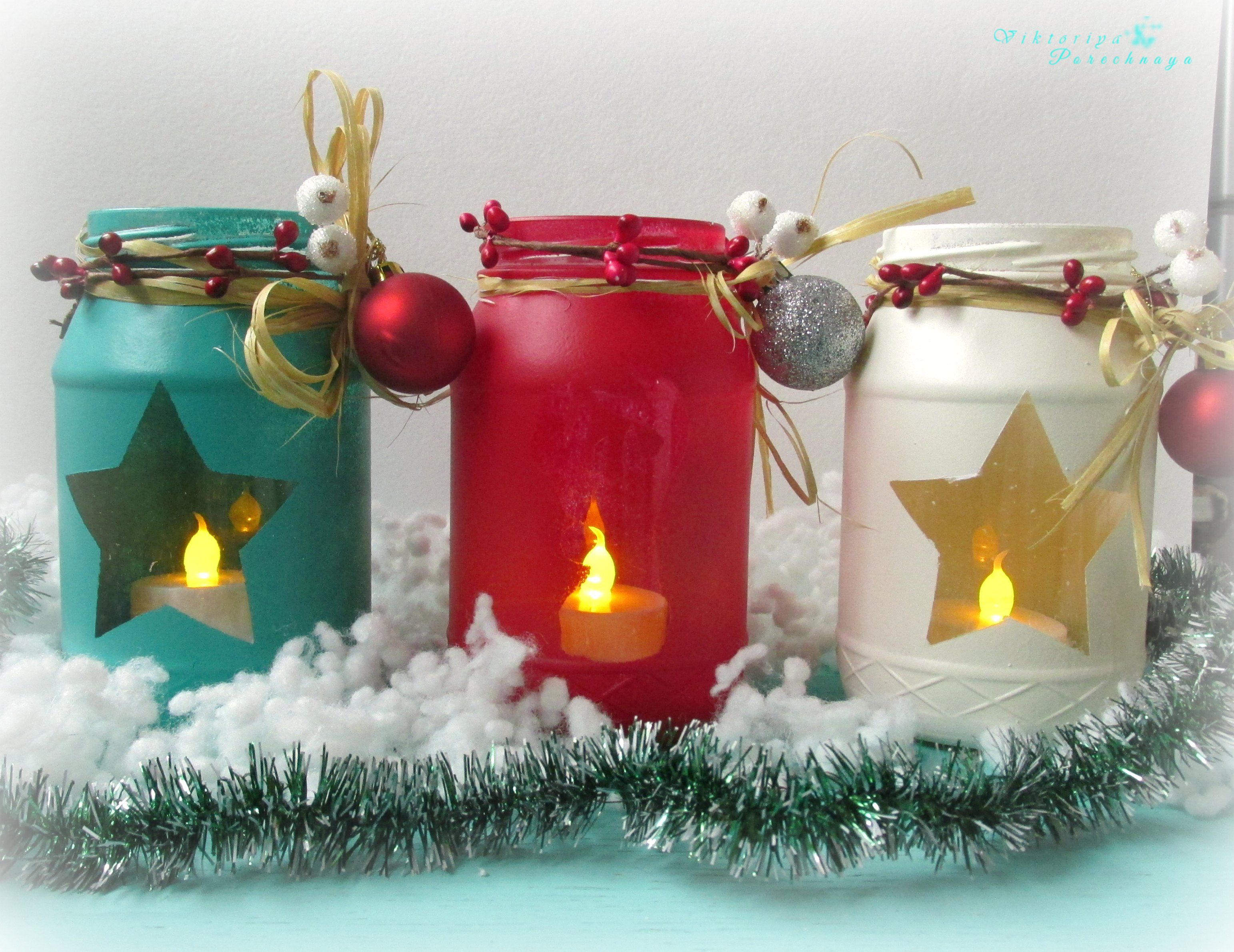 Decorated Jars For Christmas Mason Jar Candles  Holiday Crafts  Christmas  Pinterest  Jar