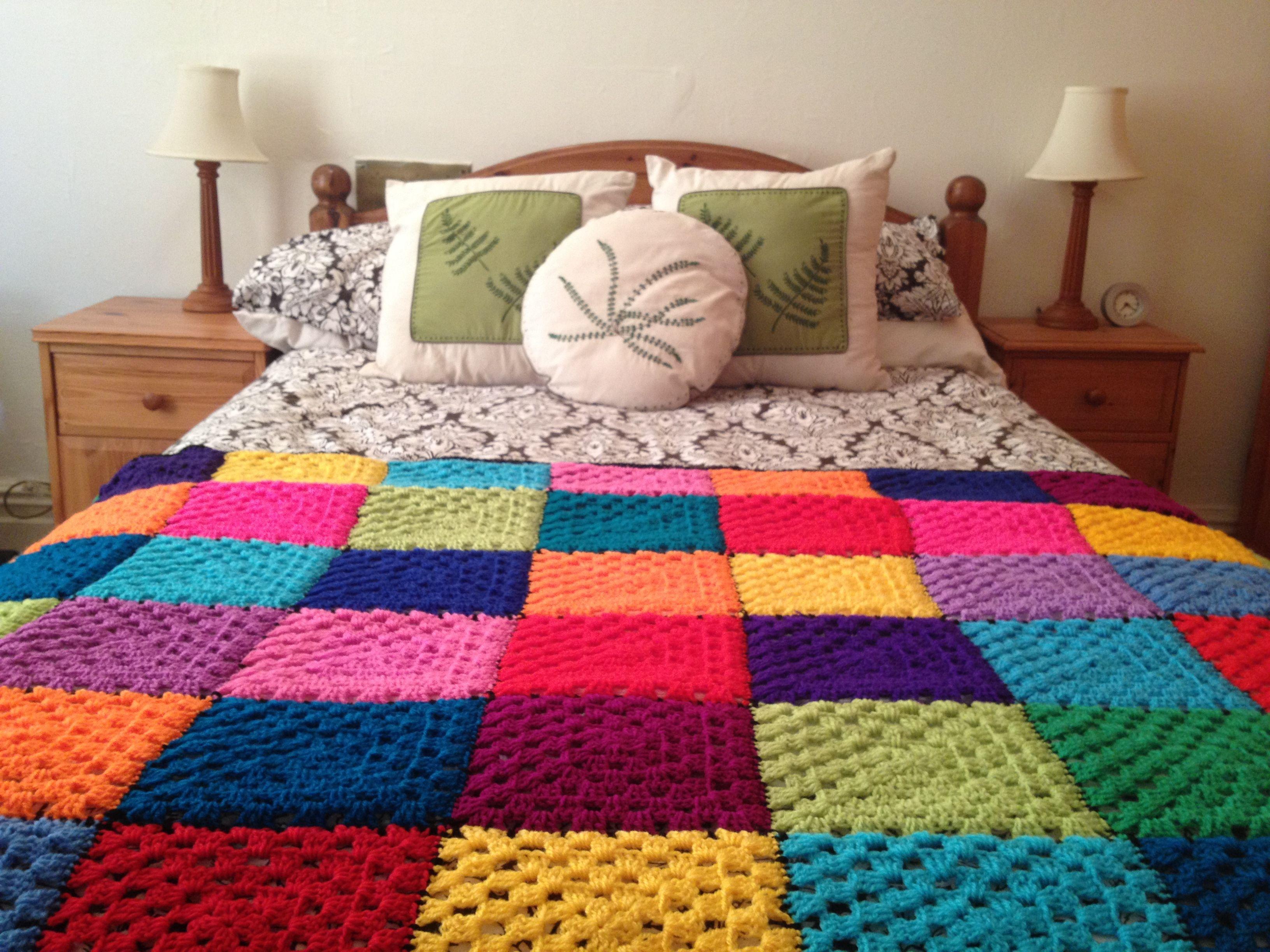 Black & Bright Rainbow single crochet blanket or double/king size ...