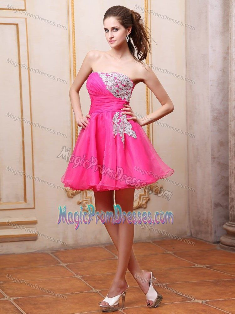 Ruched Strapless Mini-length Puffy Prom Dresses in Hot Pink with ...