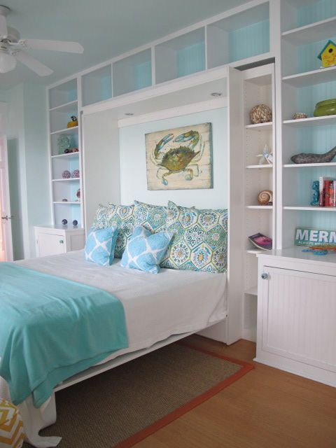 White And Blue Coastal Bedroom Murphy Bed Storage