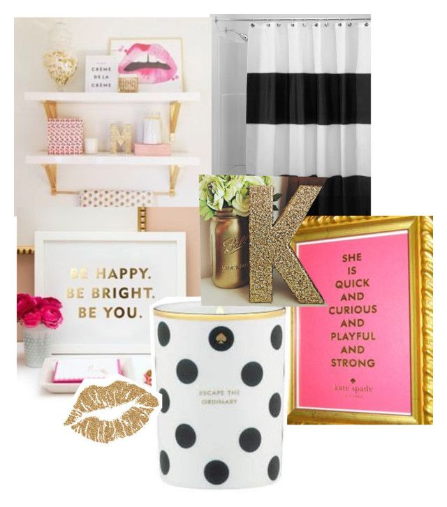 Kate Spade Inspired Bathroom By Katiemanlove Liked On Polyvore Featuring Interior Interiors Design Home Decor Decorating