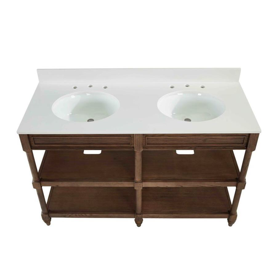 Scott Living 54 In Drifted Oak Double Sink Bathroom Vanity With