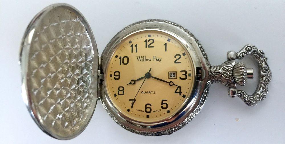Vintage Willow Be Quartz Pocket Watch Gold Tone Eagle On