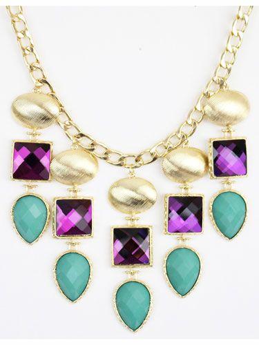 Multicolored Jewel Statement Necklace