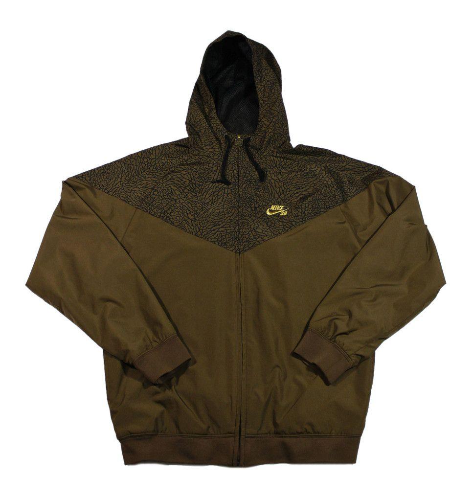 Nike SB Brown Elephant Print Windbreaker Jacket Mens Size Medium  50.00 04b491388