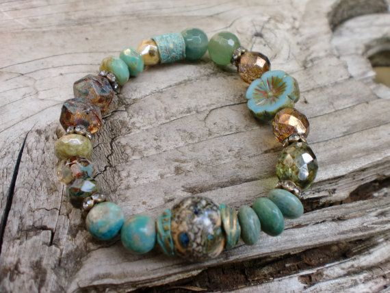 Mixed Seafoam greens Bracelet Eld Inlet by HarborGirlDesigns, $45.00