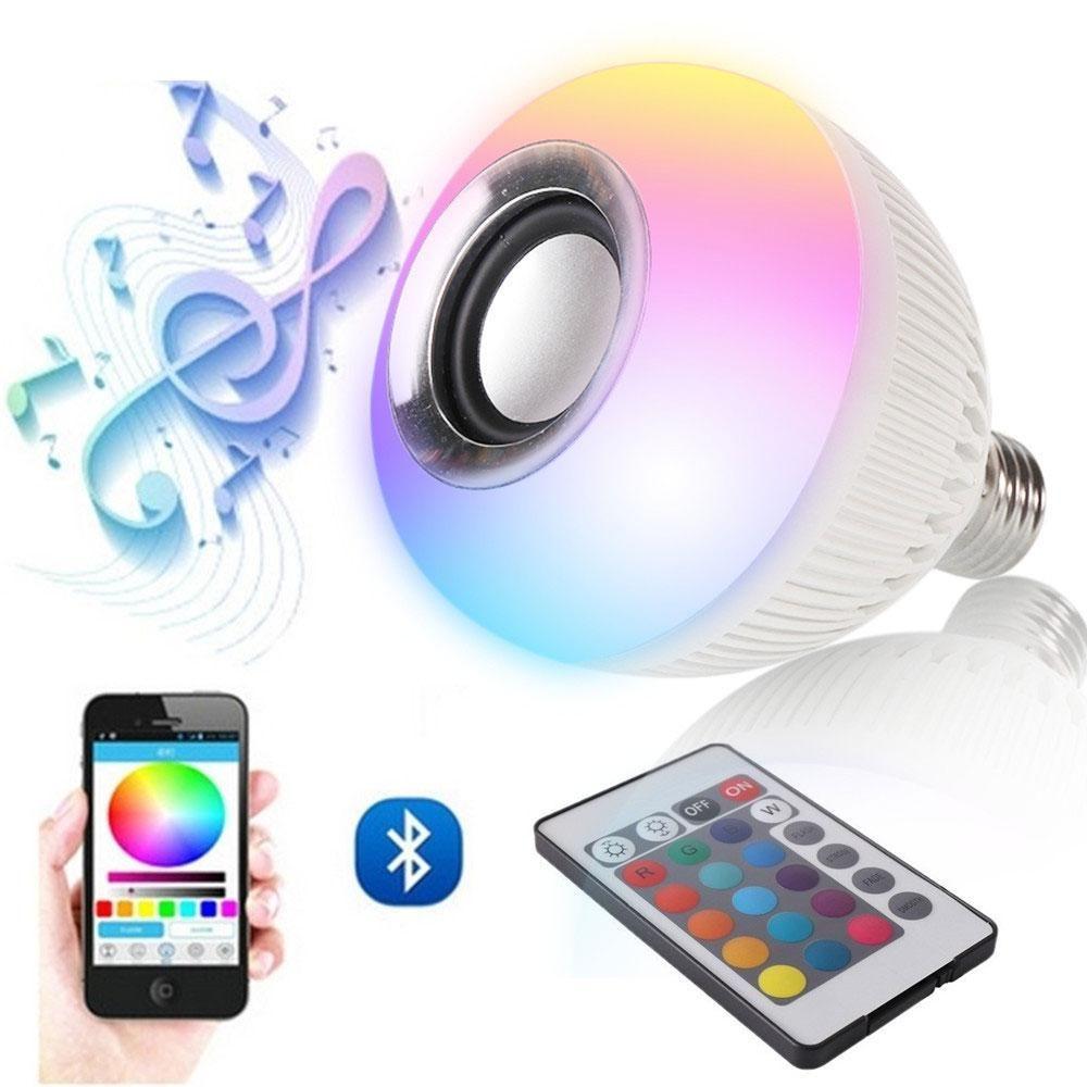 Rgb Wireless Bluetooth Speaker Bulb Music Playing Energy Saving Rgb Soptlight E27 Led Light Lamp With Remote Control Wireless Speakers Bluetooth Led Light Lamp E27 Led