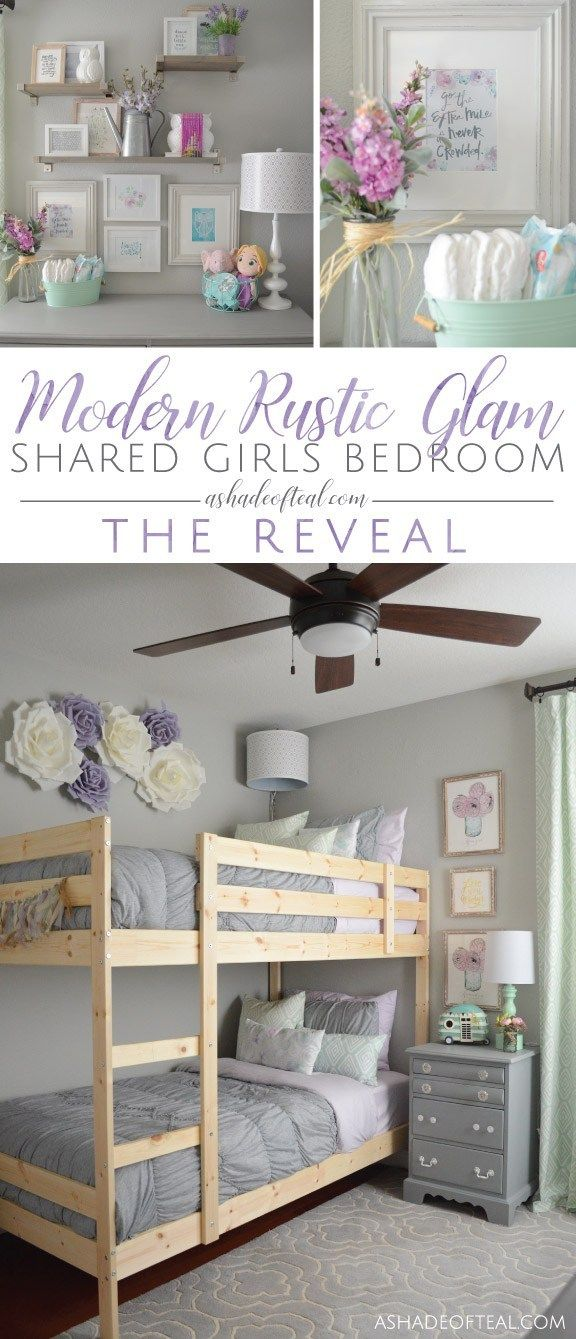 Modern Rustic Glam Shared Girls Bedroom // ORC The Reveal! images
