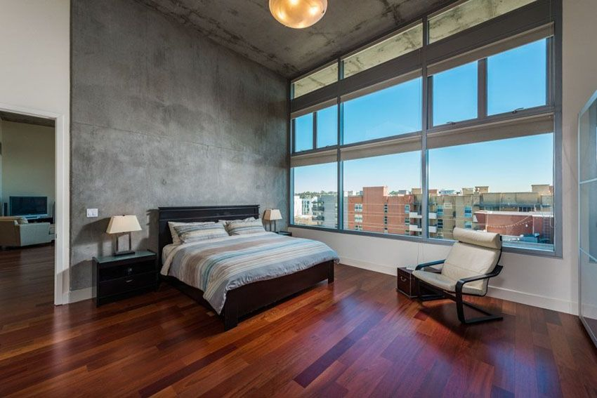 Modern Bedroom With Brazilian Cherry Wood Floors And Concrete Walls Ideas