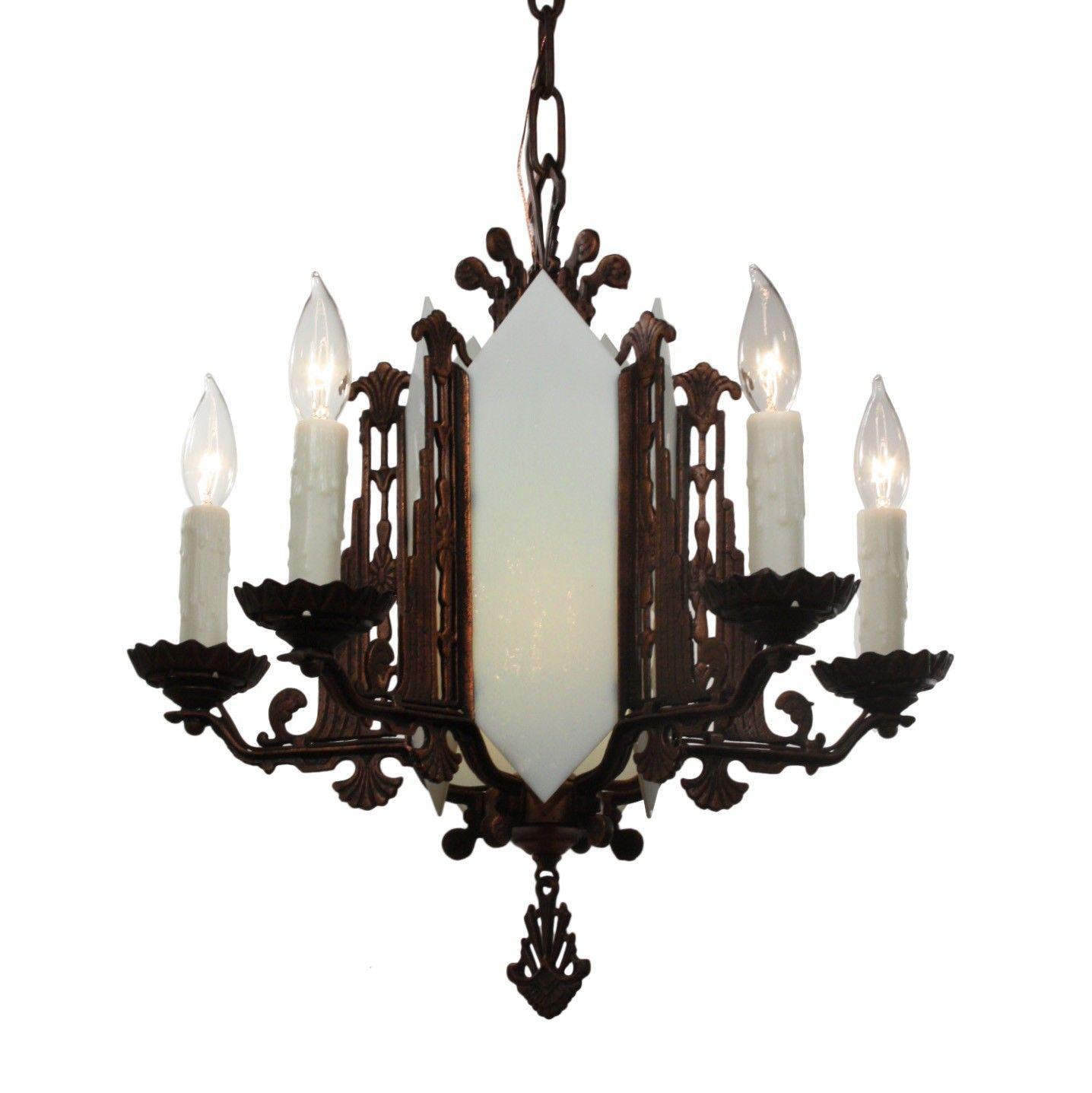 Art Deco Cast Iron Chandelier, Antique Lighting - Art Deco Cast Iron Chandelier, Antique Lighting Art Nouveau DR