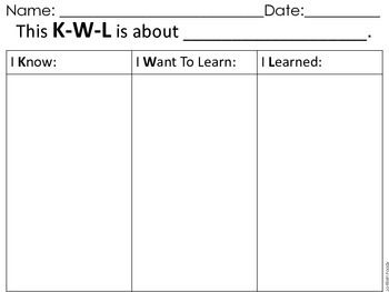 Blank Kwl Chart Freebie  Chart Students And Learning