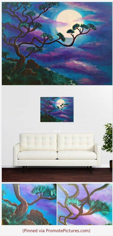 Night Landscape Oil Painting Wall Art On Canvas Midnight Light