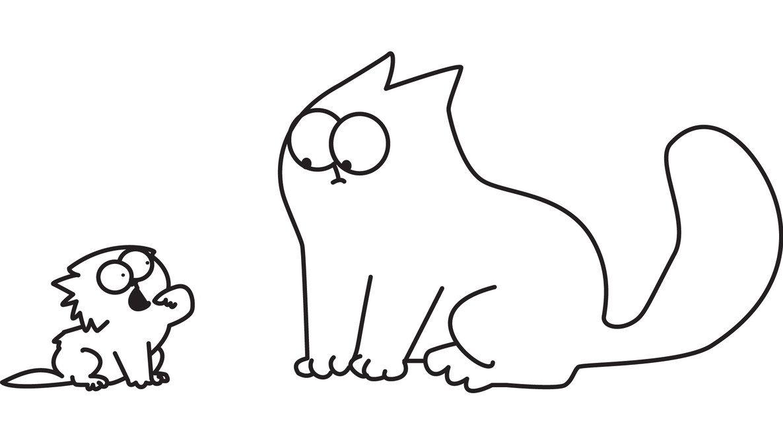 Открытка, картинки раскраски коты смешные