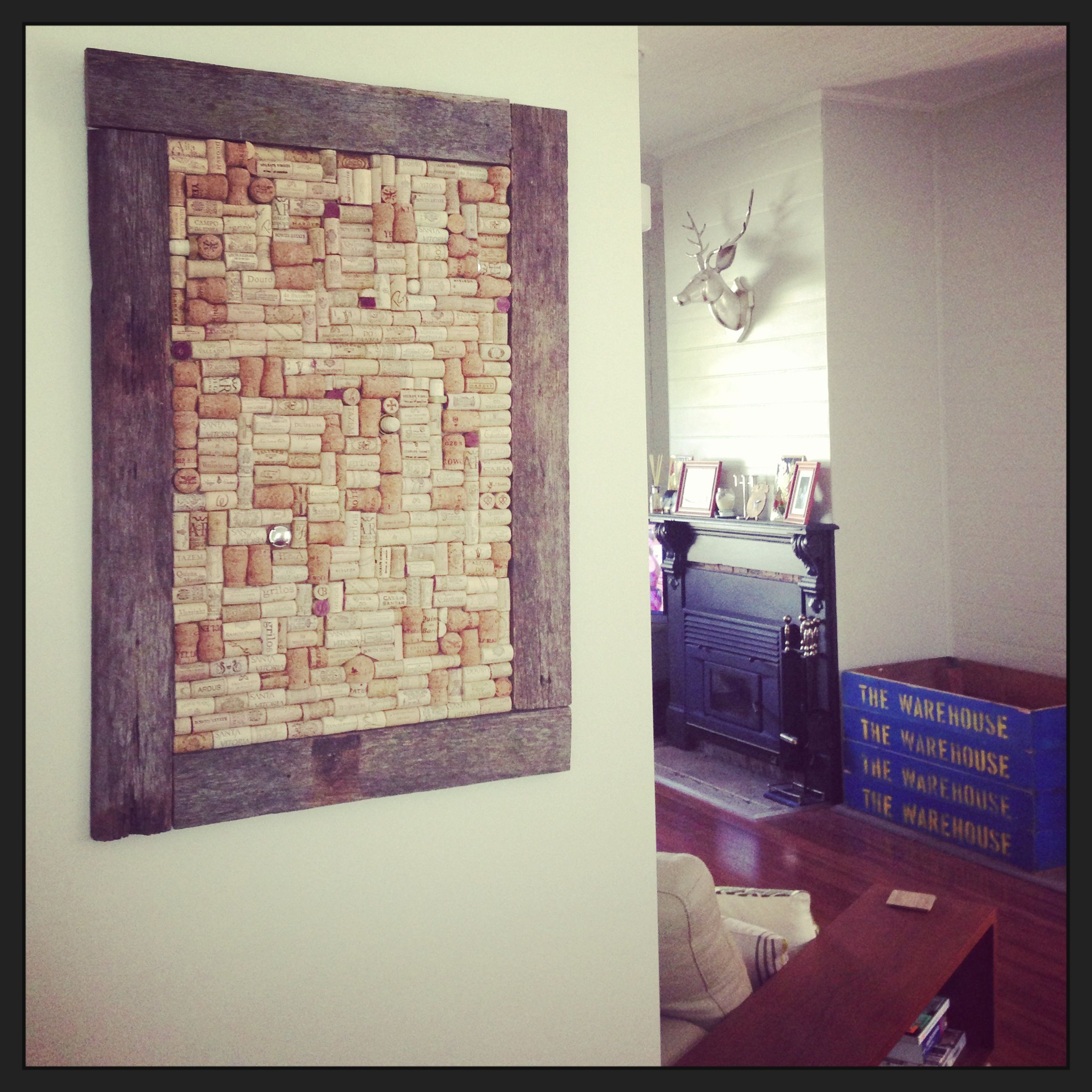 Cork Board Made From Wine Corks With Old Fence Pailings