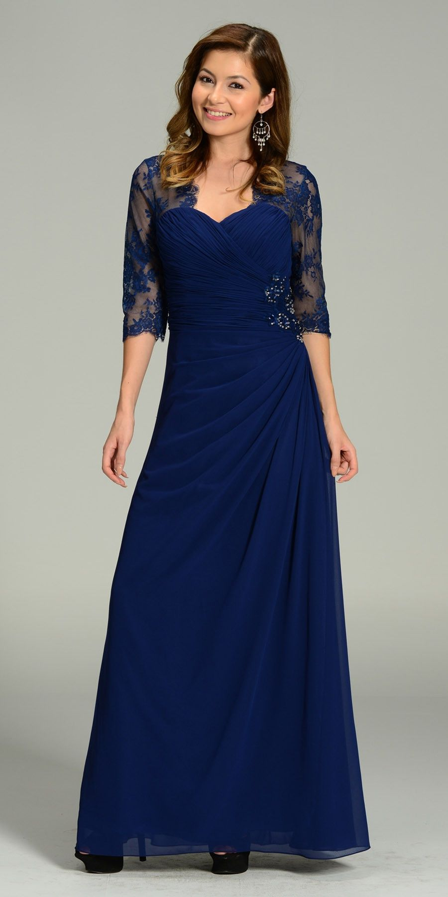 Long chiffonlace dress navy blue mid length lace sleeves mid