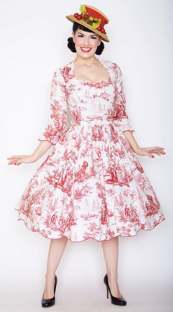 Preorder pinup rockabilly bernie dexter swing dress romance red ...