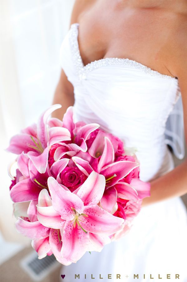 Featured Bouquet Pink Lily And Rose Bouquet Naperville Wedding