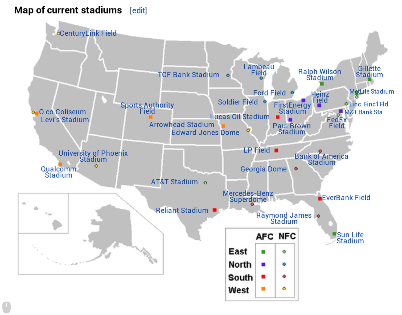 NFL Stadiums in United States   NFL Stadiums   Nfl stadiums ... on amalie arena map, madison square garden, heinz field, marlins ballpark map, arrowhead stadium, wembley stadium, soldier field, smoothie king center map, royal farms arena map, mercedes-benz superdome, metlife parking chart, miami dolphins map, the palace of auburn hills map, talking stick resort arena map, o.co coliseum map, truman sports complex map, sun life stadium, raymond james stadium, university of phoenix stadium, heinz field map, ford field, metlife ny, bmo harris bank center map, los angeles memorial sports arena map, metlife tickets, new york giants, metlife seating chart, gillette stadium, georgia dome, giants stadium, new york jets, gila river arena map, prudential center map, metlife sports complex, lambeau field, centurylink field, reliant stadium, cowboys stadium,
