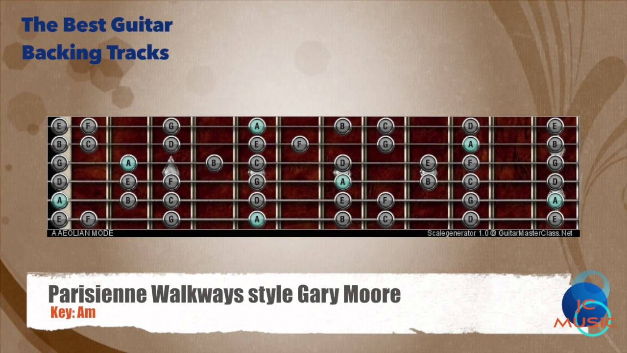 Parisienne Walkways Gary Moore Backing Track Guitar Map Scale
