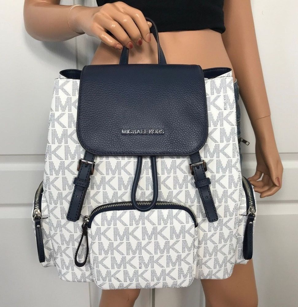 1840a03bb3fa NWT Michael Kors Large Backpack Book Bag Monogram MK PVC Leather White Blue  #MichaelKors #Backpack