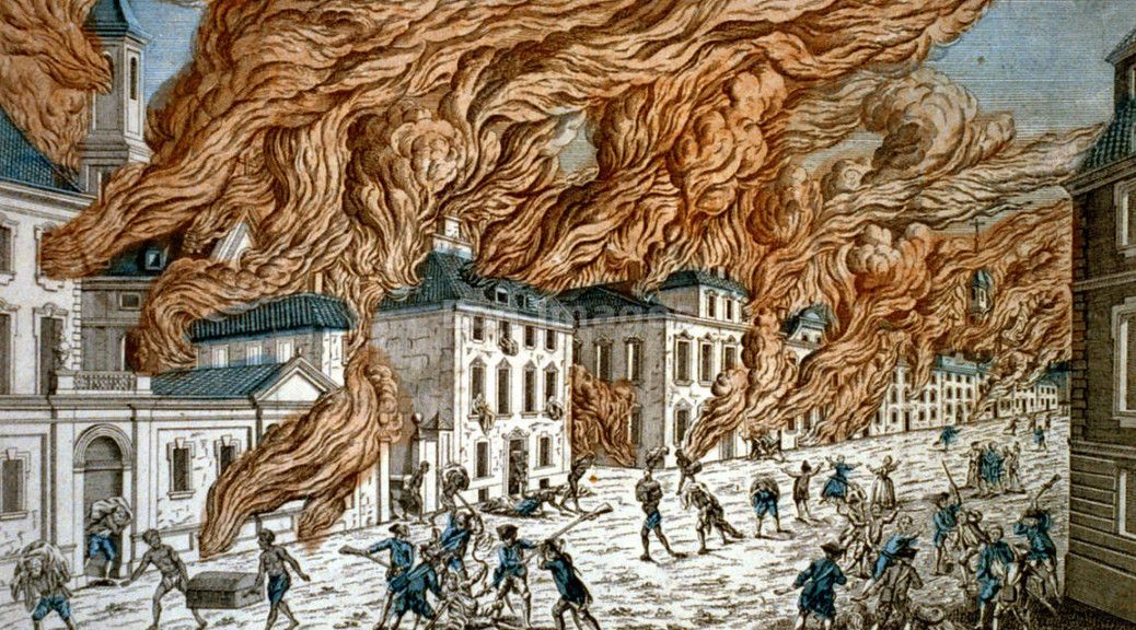 Essay On Health Care French Print Showing Buildings In New York City Engulfed In Flames During A  Fire Note High School Application Essay Examples also Essay Paper Generator French Print Showing Buildings In New York City Engulfed In Flames  Proposal Essay Topics List