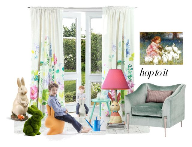 """""""This Little Rabbit"""" by boutiquebrowser ❤ liked on Polyvore featuring interior, interiors, interior design, home, home decor, interior decorating, Bluebellgray, Qeeboo, springhome and bunnydecor"""