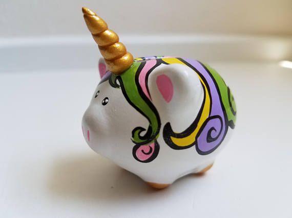 Teeny UniPig The Unicorn Piggy Bank Custom Girls Birthday Gift Rainbow For Her