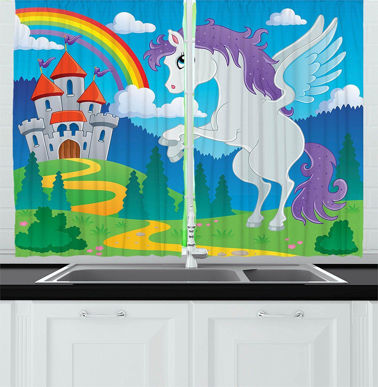 Kids Decor Kitchen Curtains by Ambesonne, Fantasy Myth Unicorn with ...