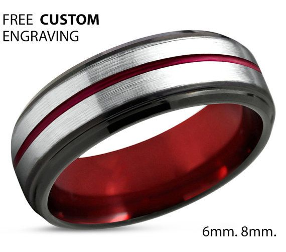 Tungsten Ring Mens Red Black Wedding Band Tungsten Ring Tungsten Carbide 6mm T Yellow Gold Wedding Ring Mens Wedding Bands Tungsten Diamond Engagement Ring Set