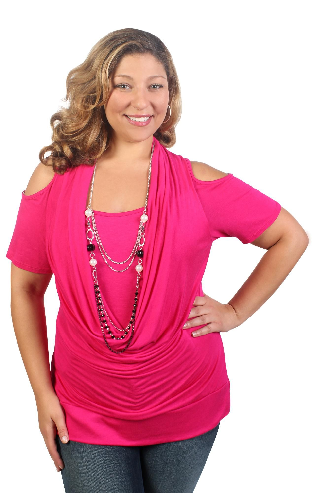 4e29baa77a3 plus size cold shoulder banded bottom top with inset and necklace ...