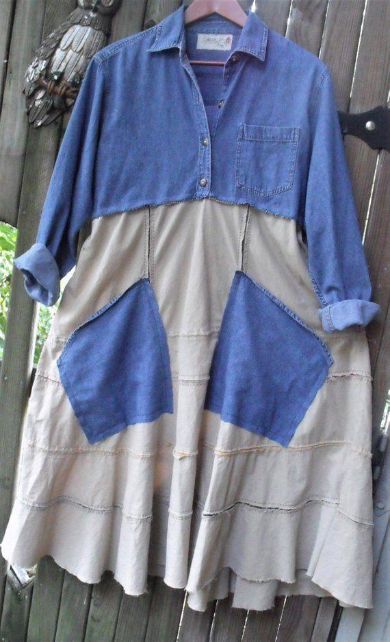 Farmgirl Frock/ Denim and Khaki/ Refashioned Dress/ Eco-Clothing ...
