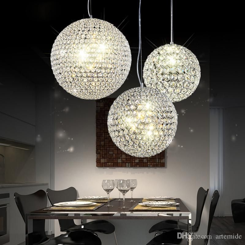 Modern Silver Crystal Chandelier K9 Globe Pendant Lights Living Room Bedroom Hotel Office Bar Lighting
